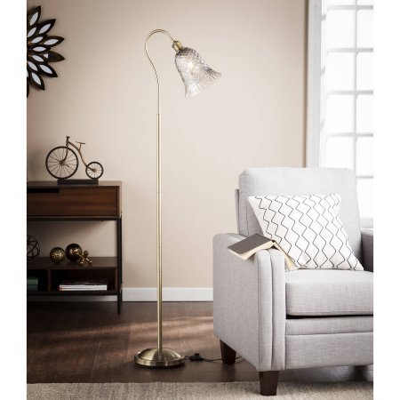 Southern Enterprises Cecil Bronze Floor Lamp with Deco Art Glass Shade - Hubbardton Forge Bronze Floor Lamp