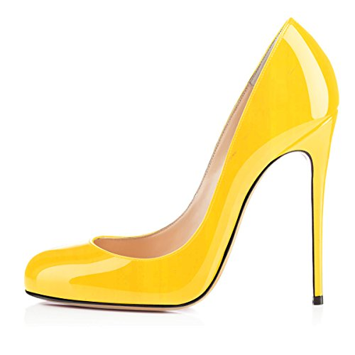 Yellow High Smart Heels 12cm Ladies Court Womens Shoes Toe Round Soireelady vF1qApnq