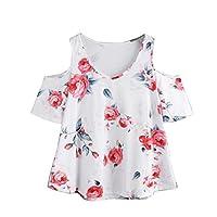 BSGSH Women's Casual Floral Printed Cold Shoulder Short Sleeve V Neck Shirt Blouse Top