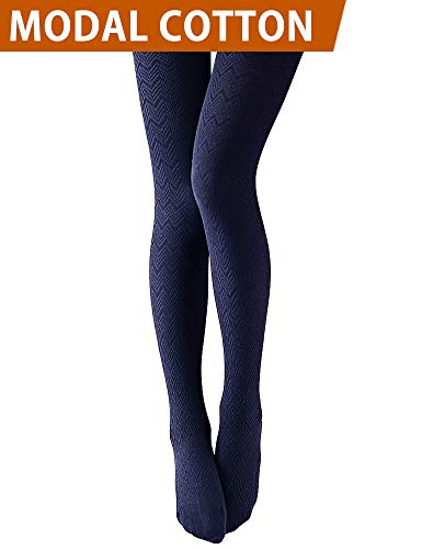 VERO MONTE 1 Pair Women's Modal & Cotton Opaque Knitted Patterned Tights (Navy) 40921