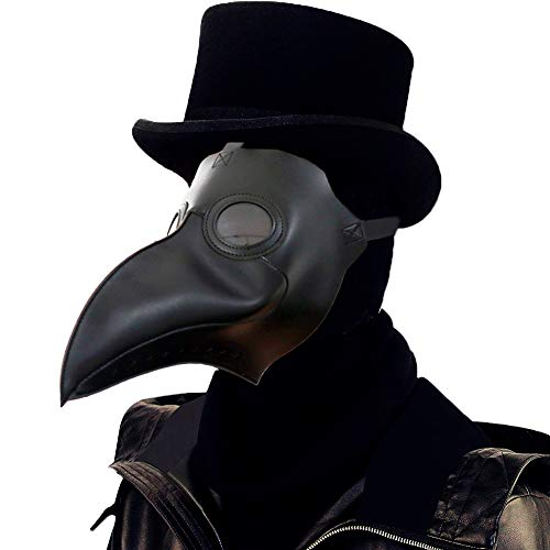 Lubber Plague Doctor Bird Mask Gothic Cosplay Retro Steampunk Props for Halloween Costume (Simple Black)