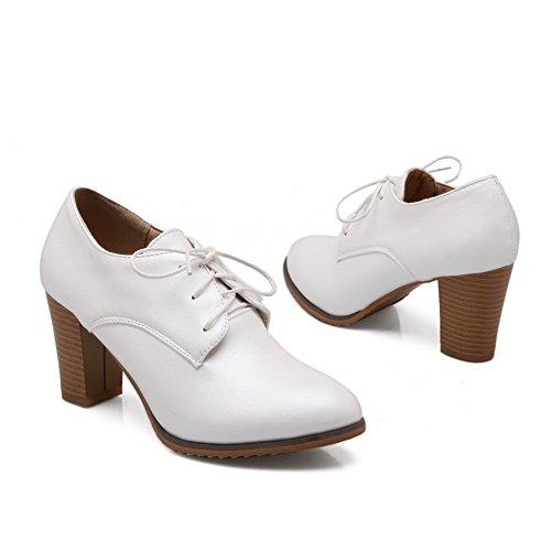 Balamasa Dames Composiet Solide Geïmiteerd Lederen Pumps-schoenen Wit