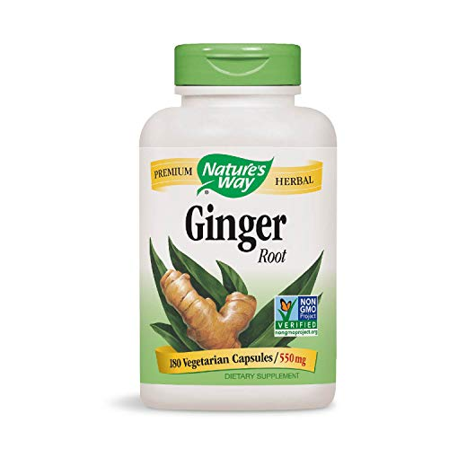 Nature s Way Premium Herbal Ginger Root 550 mg, Digestive Support, 180 Vegetarian Capsules, Pack of 2