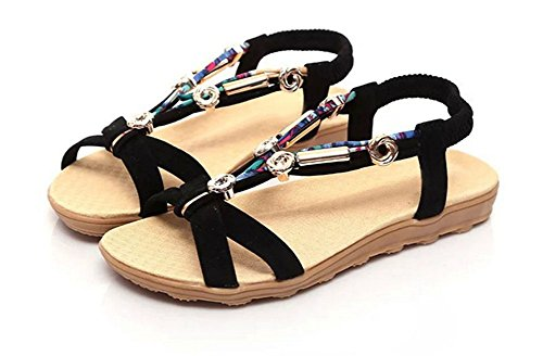 CHIC*MALL Bohemian Shoes Flat Sand Beach Shoes Elastic Beaded Sandals(black) mrZ8ni