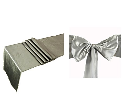 Elina Home Combo Satin Pack 2 Table Runner 12x108Inch & 10 Chair Bow Sash Wedding Banquet Kitchen HomeDecor (Grey) ()
