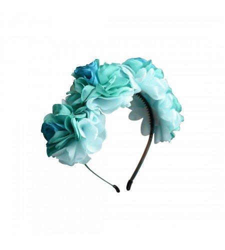 Tri Color Head - Teal Tri-Color Crepe Flower Headband