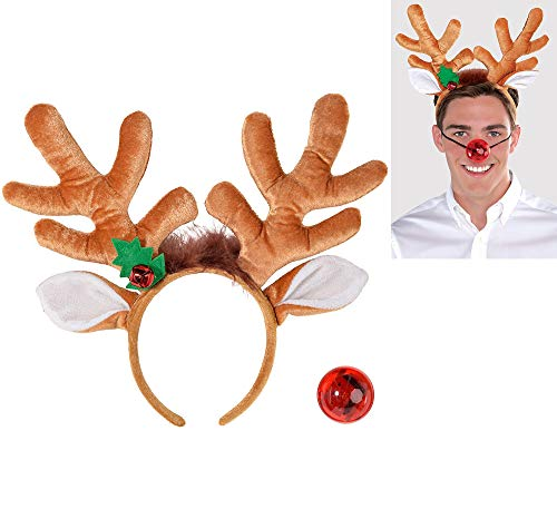 amscan Christmas Light-up Nose and Plush Fabric Antler Kit | Party Costume