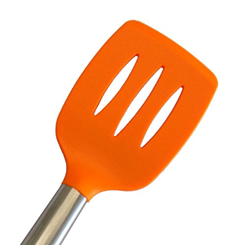 Access Kitchen Utensils Large Silicone Serving Mixing SLOTTED TURNER SPATULA with Heat Resistant Silicone and Stainless Steel Handle. ORANGE opportunity
