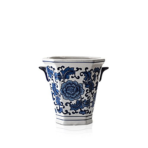 Blue Cachepot (Cobalt Blue and White Two-Handled Porcelain cachepot planter, Decorative Home & Garden Vase Pot )