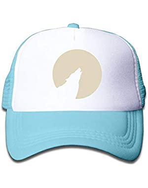 Wolf Howling to The Moon On Children's Trucker Hat, Youth Toddler Mesh Hats Baseball Cap