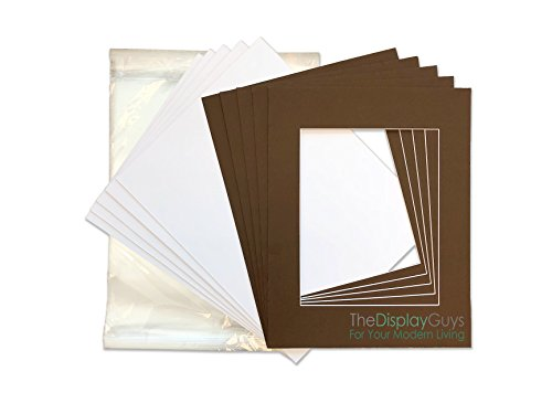 Brown Matboard - THE DISPLAY GUYS 8x10 Pack of 25 Brown Picture Photo Matting Mat Boards + Backing Boards + Clear Plastic Bags Complete Set