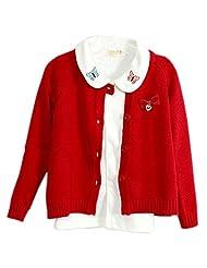 Lymanchi Little Girls' Cute Crewneck Button Front Cotton Cardigan Sweater