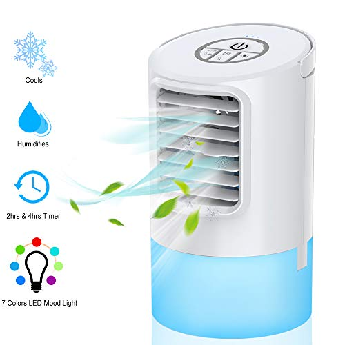 System Cooling Evaporative (WEINAS Personal Air Conditioner Fan, Personal Space Cooler for Desktop Portable Mini Evaporative Air Cooler, Humidifier Misting Fan Air Conditioner for Room, Office, Kitchen)