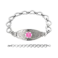Divoti Custom Engraved Angel Wing Medical Alert Bracelet -Open Heart Stainless -Pink
