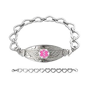 Divoti Custom Engraved Angel Wing Medical Alert Bracelet -Open Heart Stainless -Pink