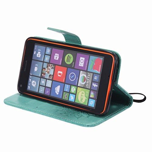 Yiizy Microsoft Lumia 640 LTE Custodia Cover, Sole Petali Design Sottile Flip Portafoglio PU Pelle Cuoio Copertura Shell Case Slot Schede Cavalletto Stile Libro Bumper Protettivo Borsa (Verde)