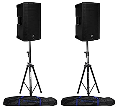 """2 Mackie Thump12BST THUMP-12BST 12"""" 1300w Active DJ PA Speakers+Hydraulic Stands by Loud Technologies Inc."""
