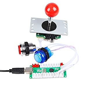 EG STARTS Classic Arcade Games Cabinet Kit USB Encoder to PC Joystick Handle + 5V Led Lights Push Buttons Compatible Arcade PC Game DIY Project &Mame & Raspberry Pi DIY Parts (White) (Color: White)