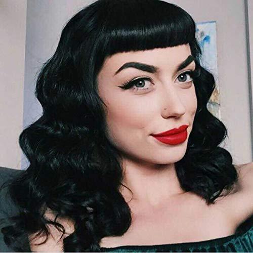 DIFEI Rockabilly Vintage Wig Audrey Hepbum Short Bang Wig Long Finger Wavy Wigs for Women (Black)]()