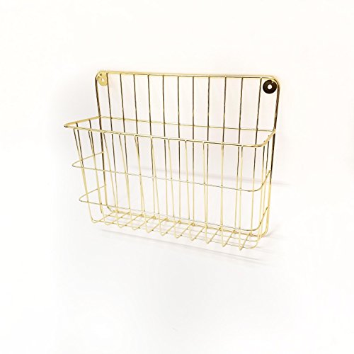 Gold Finish Metal Wall File Holder by Designstyles