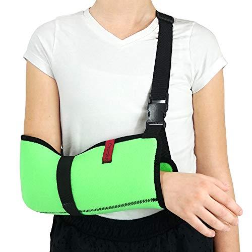 ORTONYX Kids Arm Support Sling Shoulder Immobilizer Brace - Breathable and Lightweight - Fully Adjustable / ACJB2410-GN