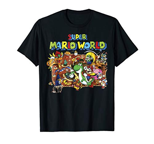Super Mario World Retro Map Graphic T-Shirt (Super Mario 3d World Wii U Trailer)