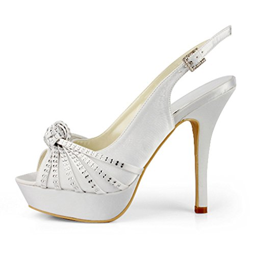 Osapuoli Sandaalit Valkoinen Satiini Morsiamen Naisten Tmz368 Ilta Alustan Slingback Kantapää Muodollinen Minitoo 13cm Zwz8gvqg