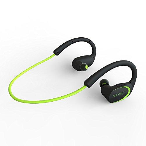 Bluetooth Kopfhörer, SainSonic R9 V4.1 Wireless-Sports HD Stereo-Ohrhörer , Leicht und wasserdicht für das Rennen, Eingebautes Mikrofon für iPhone, iPad, Macbook (Neongrün)