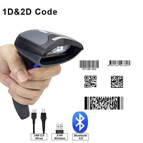 B&H-ERX 2D Wireless Barcode Scanner (3-in-1 2.4G Wireless & USB2.0 Wired & Bluetooth) 1D QR PDF417 Data Matrix Bar Code Scanner(2019) (Best Barcode Scanner 2019)