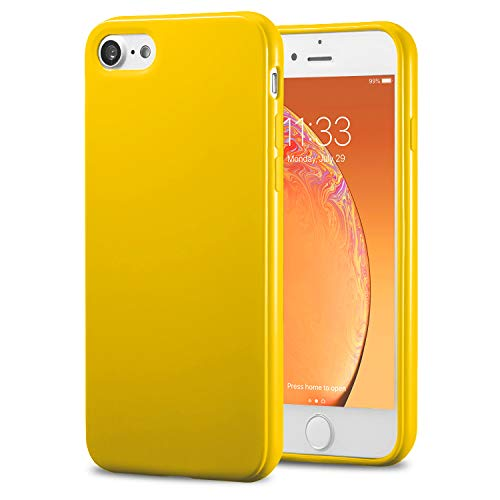 TENOC Phone Case Compatible for Apple iPhone 8 & iPhone 7 4.7 Inch, Slim Fit Cases Soft TPU Bumper Protective Cover, Glossy Yellow