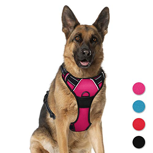 (BARKBAY No Pull Pet Harness  Dog Harness Adjustable Outdoor Pet Vest 3M Reflective Oxford Material Vest for pink Dogs Easy Control for Small Medium Large Dogs (XL))