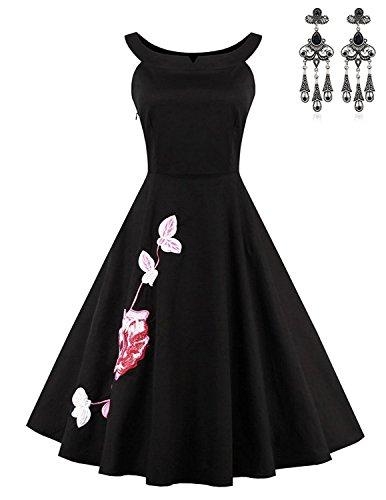 MODETREND Mujer Vestidos de Florales Bordado Vintage Retro 1950s Sin Mangas Elegant Coctel Fiesta Vestido A-Line Vestido Tutú Negro