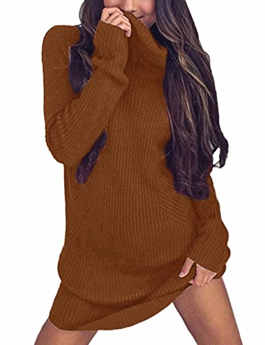 Topicshine Women's Sexy Solid Color Turtleneck Casual Knit Pullover Sweater DressKnitted Sweater Dress Go-S