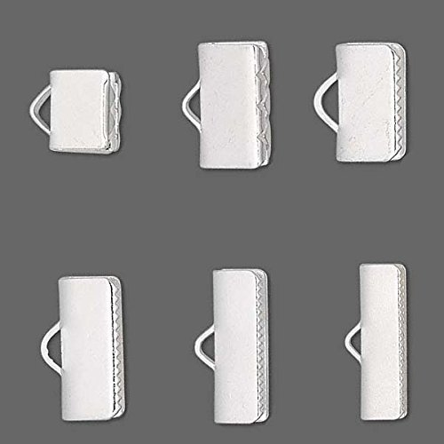 10 Smooth Silver Plated Crimp Ende Findings mit Teeth für Flat Leather & Ribbon (1/4 Inch (6Mm))