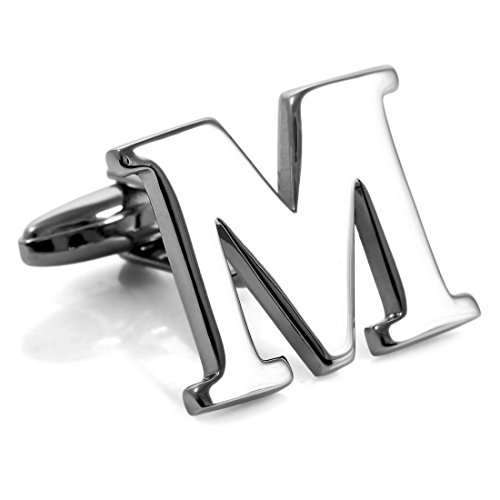 INBLUE Men's Rhodium Plated Cufflinks Silver Tone Initial Letter M Shirt Business Wedding (Plated Cufflinks Silver Nickel)