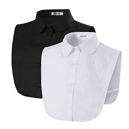 ANZERMIX Women's Detachable Dickey Shirt Collar (2 Pack) (Round Tips White+Black)