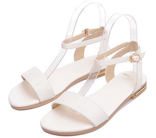 Boucle Femme Bas Blanc Talon Gmbla012330 Sandales À Agoolar Couleur D'orteil Unie Ouverture WIdqHq