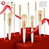 Makeup Brushes Set,10pcs Cosmetic Brushes by Texamo, Rose Gold Copper Pipe,White Pearl Shell Texture Handle,Beautiful Case Box,Premium Bionic Wool,include 1Pcs Sponge 1Pcs Cleaner 1Pcs Foundation Brush