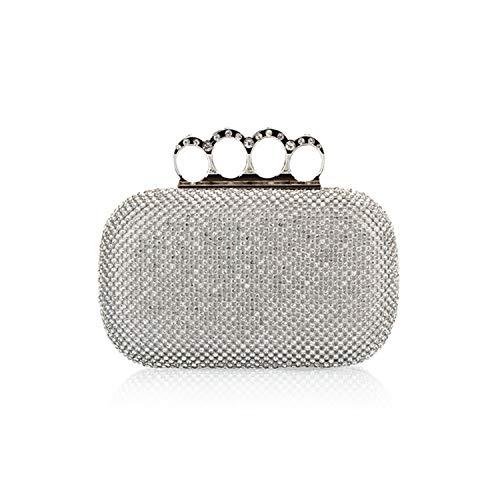 Crystal Clutch Bags Clutches Wedding Purse Rhinestones Wedding Handbags Finger Ring Evening Bag,silver