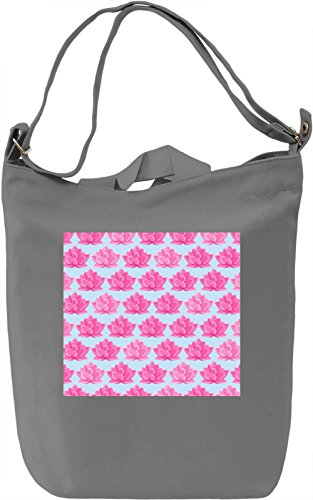 Pink Flowers Print Borsa Giornaliera Canvas Canvas Day Bag| 100% Premium Cotton Canvas| DTG Printing|