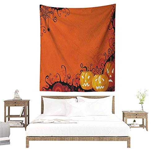 Spider Web Wall Tapestry Three Halloween Pumpkins Abstract Black Web Pattern Trick or Treat Home Decorations for Bedroom Dorm Decor 60W x 91L INCH Orange Marigold -
