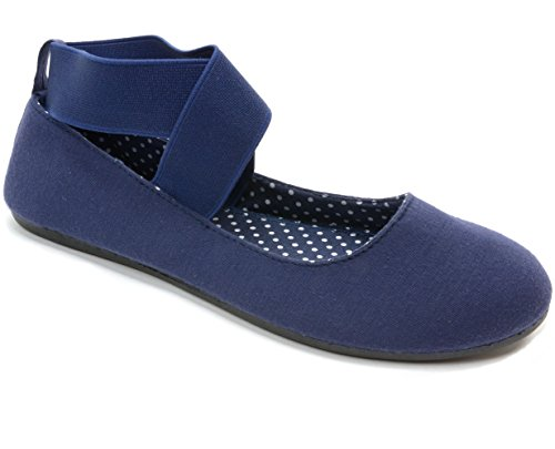 Alpine Swiss Peony Womens Ballet Flats Elastic Ankle Strap Shoes Navy 9 M US