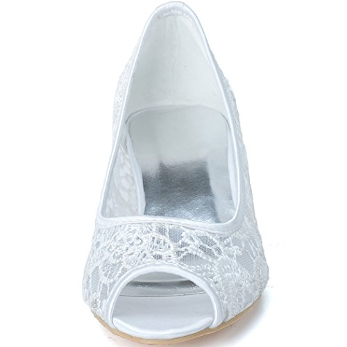 Wedding Low Women's Shoes Open Toe Lace Evening Prom Clearbridal ZXF0700 Ivory for Heels Peep Bridal 06A xTfq8Ewp