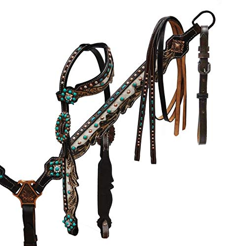 Showman Dark Oil Leather Headstall, Breast Collar & Rein Set w/Genuine Cowhide & Teal Stone Conchos! New Horse TACK!