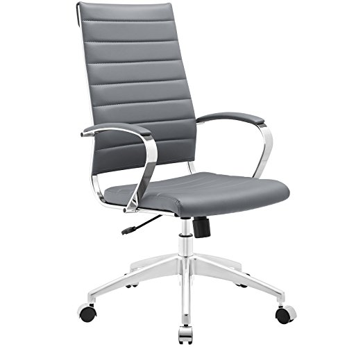 Modway Jive Ribbed High Back Tall Executive Swivel Office Chair With Arms In Gray - Modern Traditional Chair