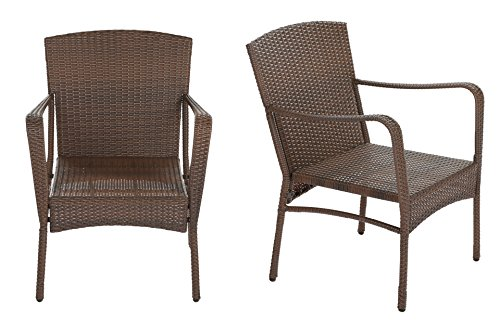 J's Furniture Clayton Collection 2x Arm Chairs Bistro Set Outdoor Dark Brown Wicker Furniture Set Aluminum Frame Round Core Wicker Without Cushions price