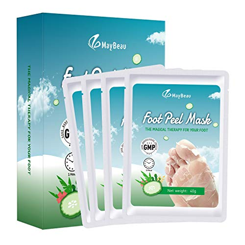 MayBeau 4 Pack Foot Peel Mask Exfoliating Foot Mask, Quick Foot Peeling Treatment Booties, Remove Callus Dead Skin and Repair Rough Heels for Baby Soft Feet (Cucumber Scented)