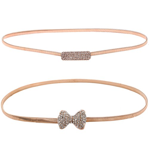 kilofly 2pc Women's Gold Metal Rhinestone Thin Stretch Skinny Belt (Waisted Fashion Belt)