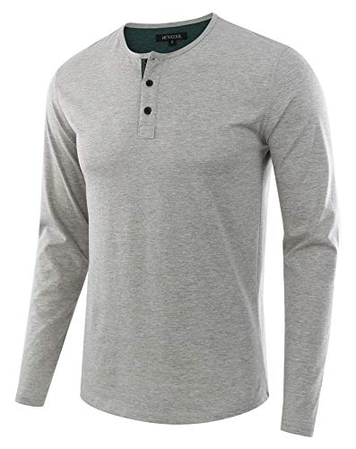 HETHCODE Men's Classic Comfort Soft Regular Fit Long Sleeve Henley T-Shirt Tee H.Gray/Dk.Green XXL