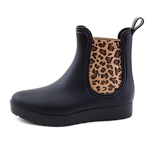 Stylische Damen Schlupf Gummistiefel Chelsea Boots Lack Stiefeletten Regenstiefel Schuhe Schwarz Leopard